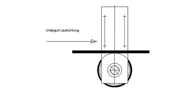 Laufrichtung eines Förderbandes mit Korrekturrolle