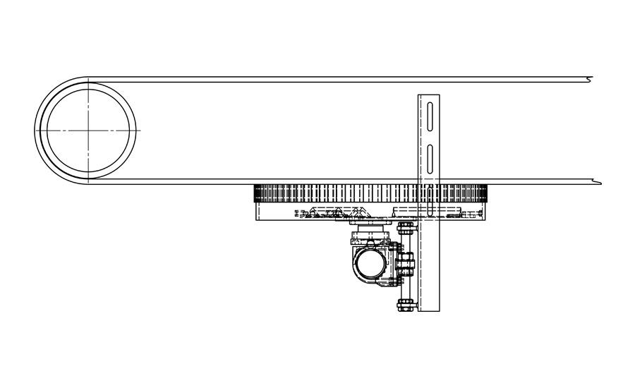 Zeichnung eines rotierenden Förderbandabstreifers
